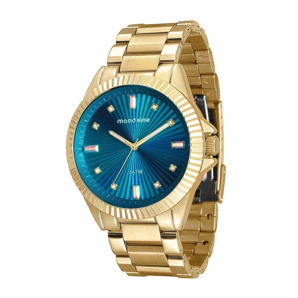 dfdb3cb98d1 Relógio com Cristais no Visor Dourado - Mondaine