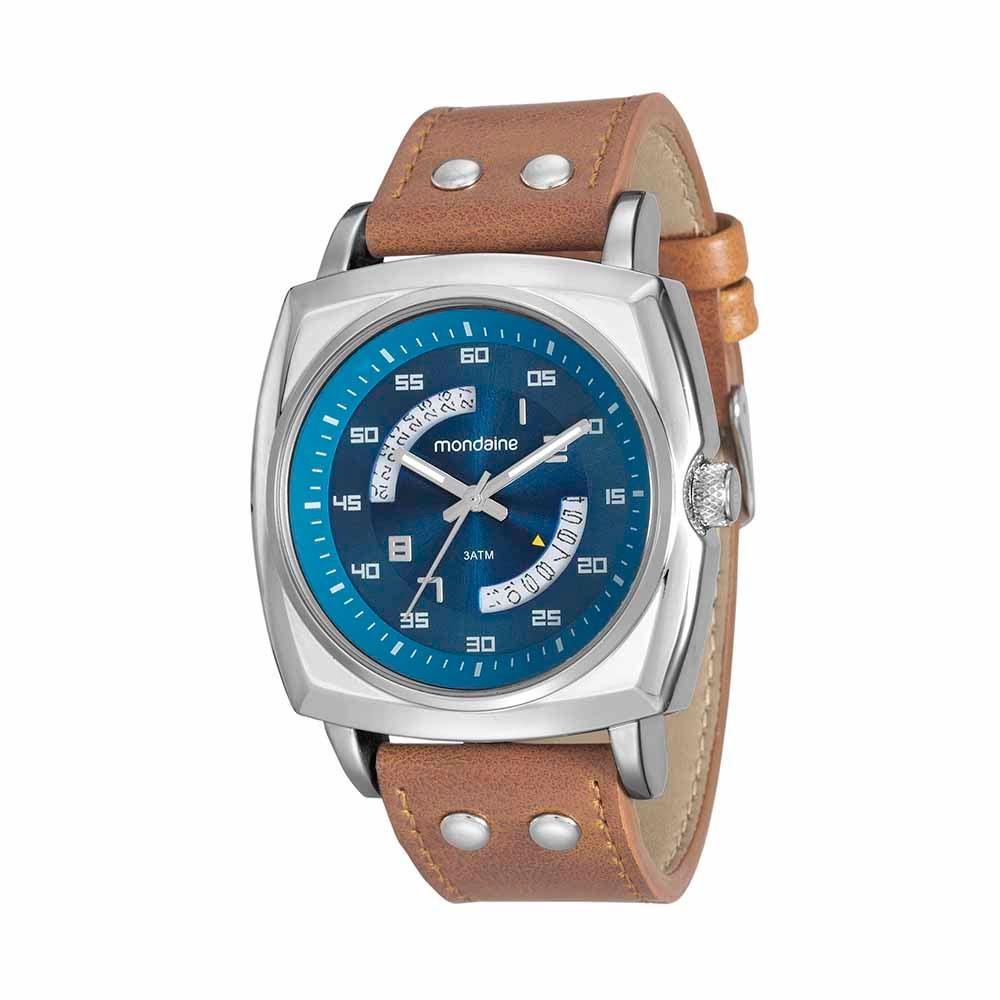 80e1290288c Relógio Quadrado com Calendário Marrom 99061G0MVNH1 - Mondaine