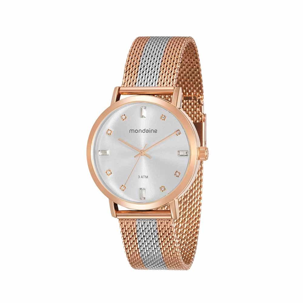 49a0d10ccbf Relógio Cristais Malha de Aço Rosé e Prata - Mondaine