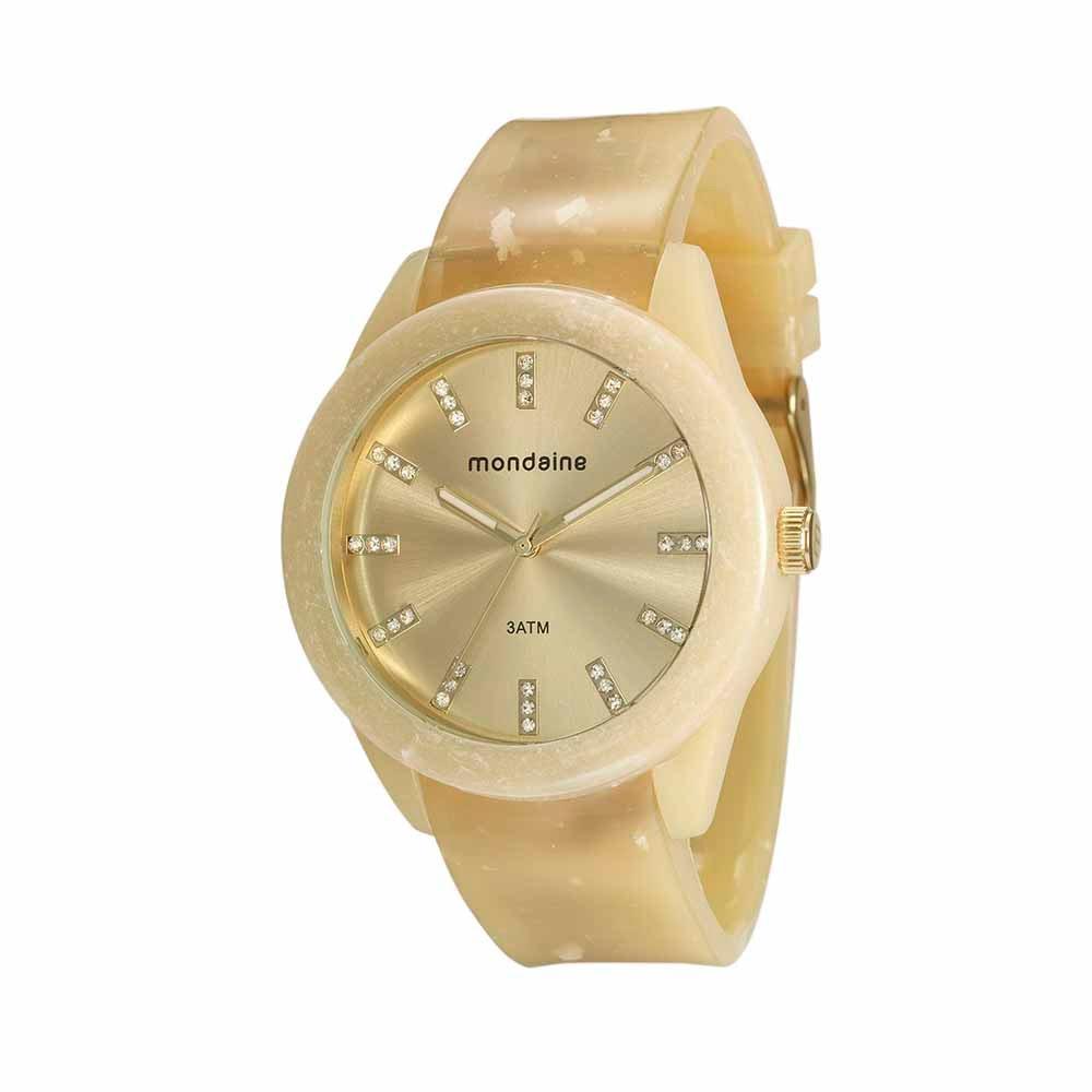 549f8e411be Relógio com Pulseira em Policarbonato Bege - Mondaine