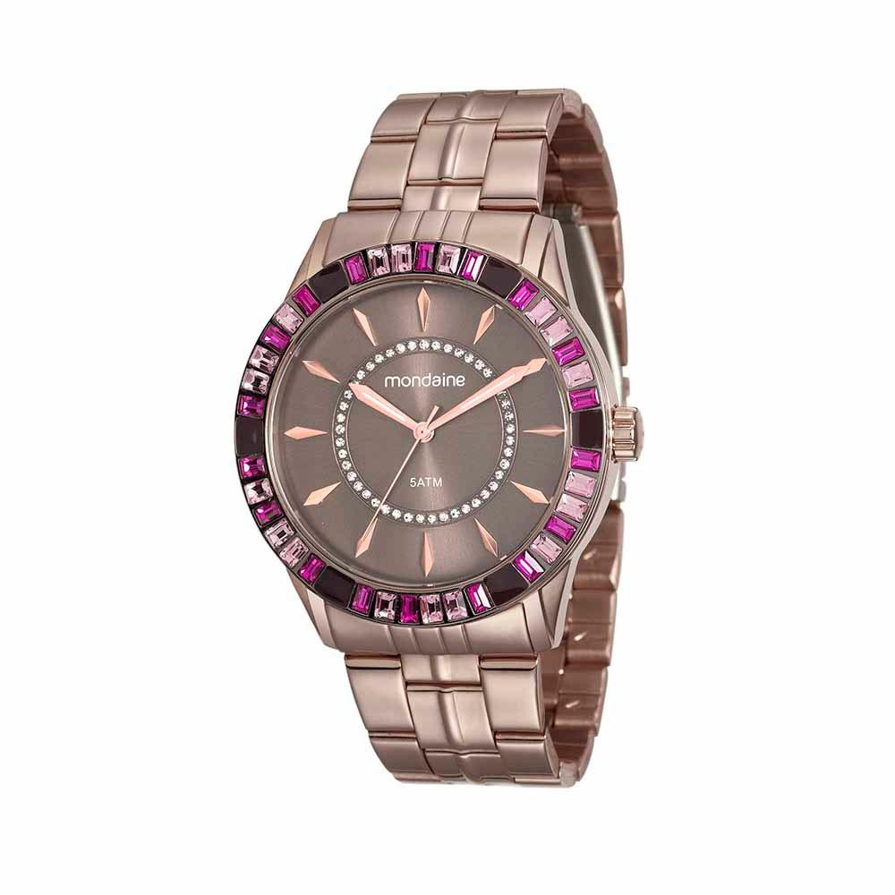 389d218d9e1 Relógio Pedraria Colorida em Aço Marrom. 78730LPMVMA1. 78730LPMVMA1