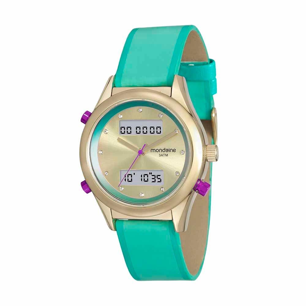 232e5ee0612 Relógio Analógico e Digital com Cristais Verde. 99120LPMVDH4. 99120LPMVDH4