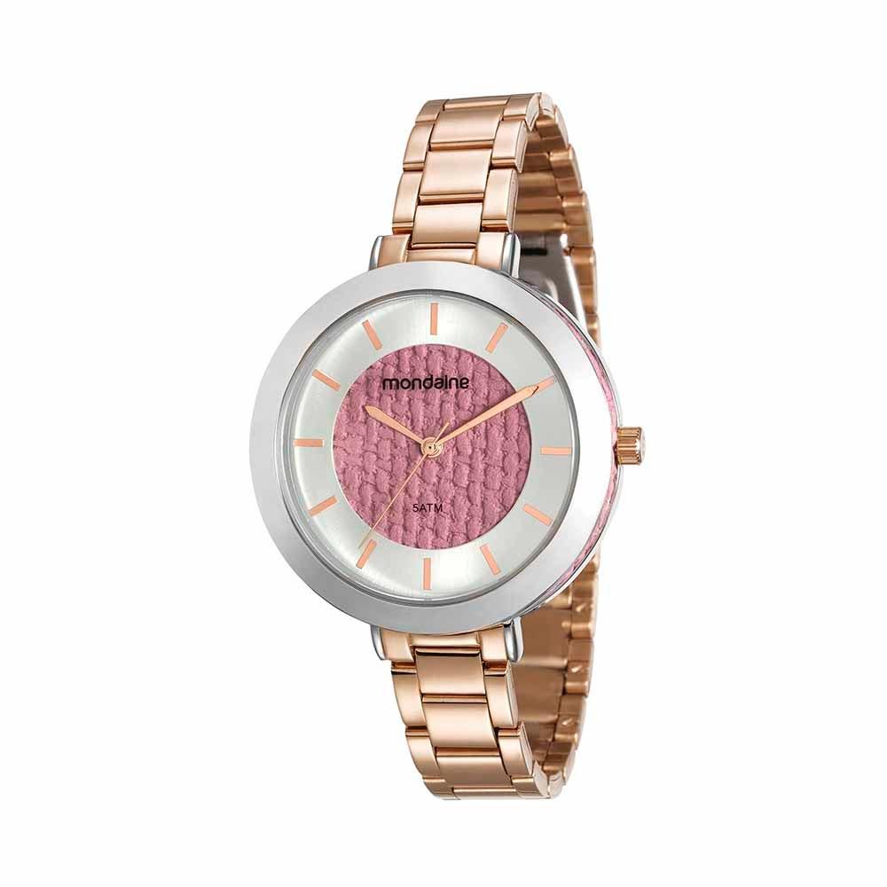 b625c071f49 Relógio Visor com Trama Rosé - Mondaine