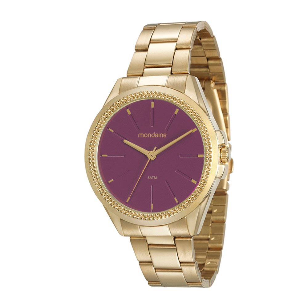8a00b24d8d4 Relógio Catraca Texturizada Dourado 53538LPMVDE3 - Mondaine