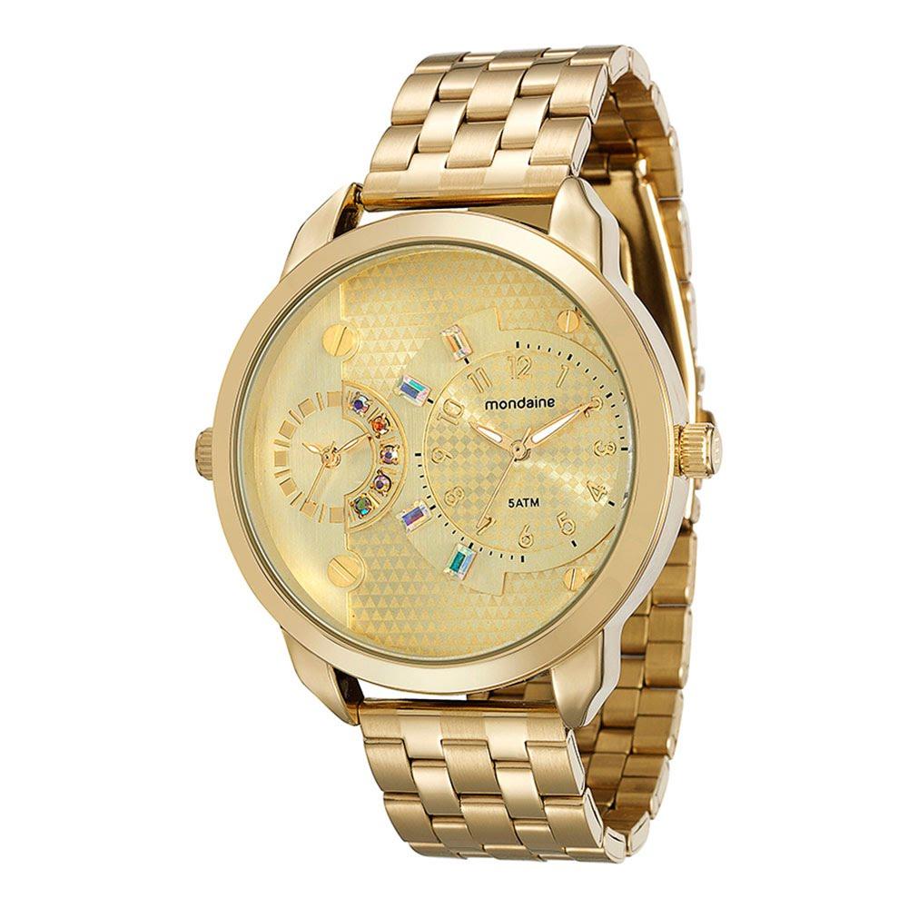 da7481627ad Relógio Duas Máquinas e Pedrarias Dourado - Mondaine