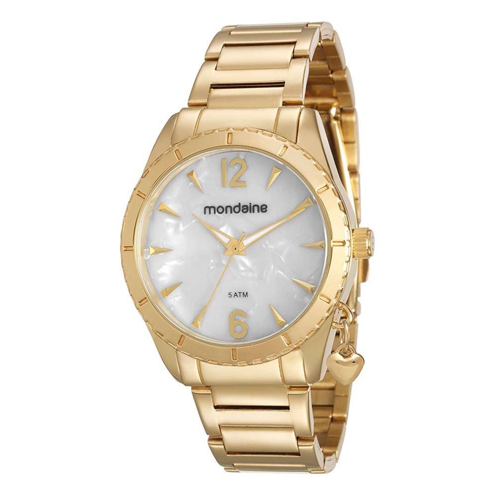 b6f7f103649 Relógio Madrepérola Pingente Coração Dourado. 76572LPMVDE1. 76572LPMVDE1