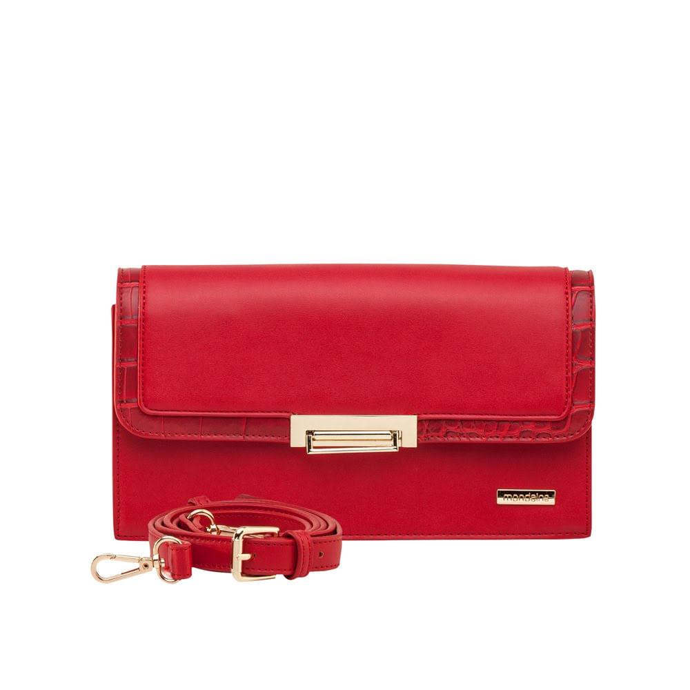 f462499b9 Bolsa Média Transversal Vermelha Textura Croco - Mondaine