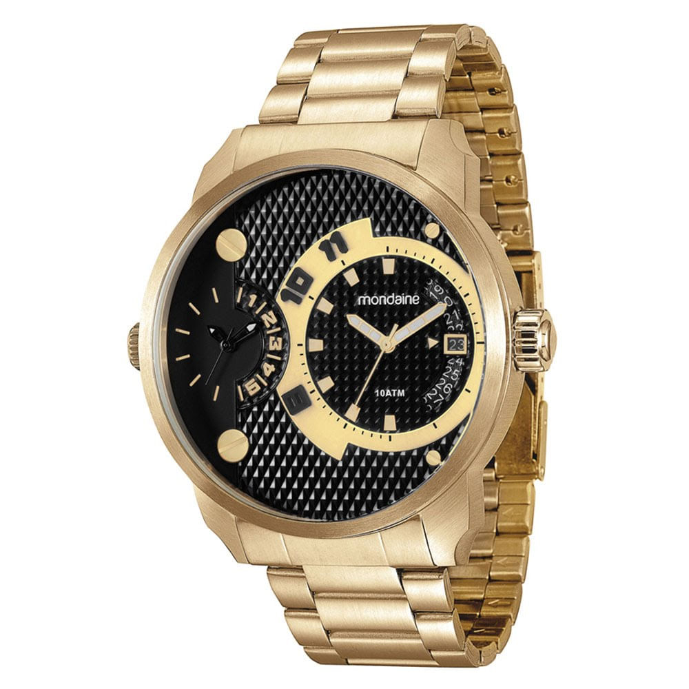 a3a348d8f34 Relógio Duas Máquinas Com Calendário Aço Dourado - Mondaine