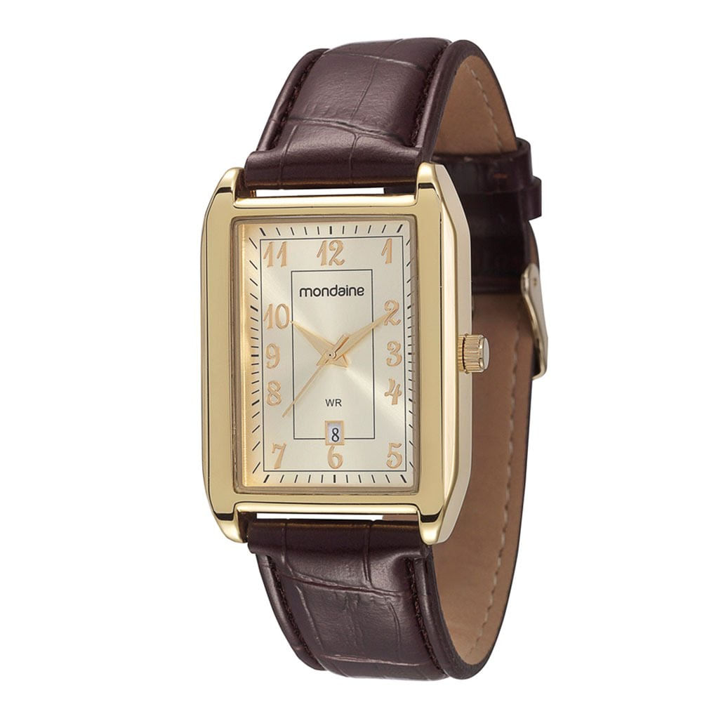 e2600df3fc1 Relógio Quadrado com Calendário Marrom 83285GPMVDH1 - Mondaine