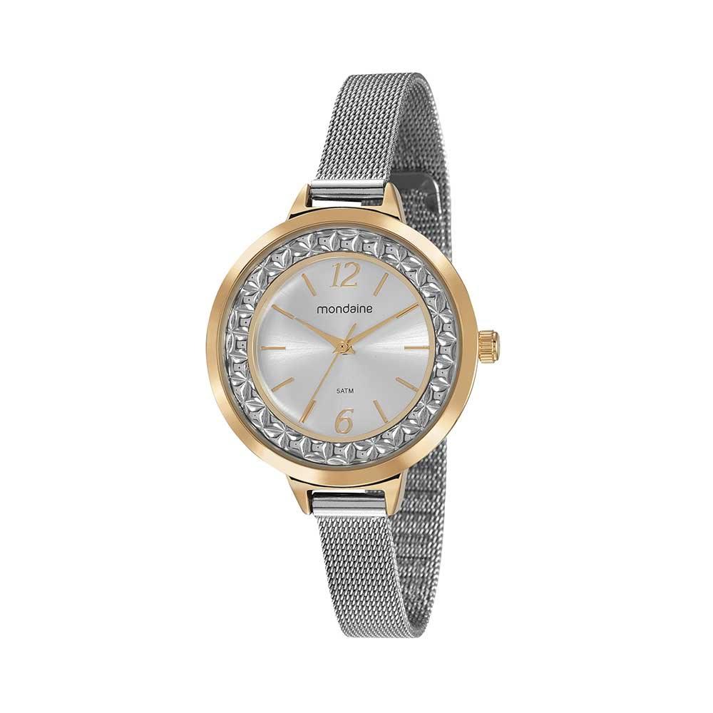 4e1a617bc97 Relógio Pulseira Malha de Aço Prata - Mondaine