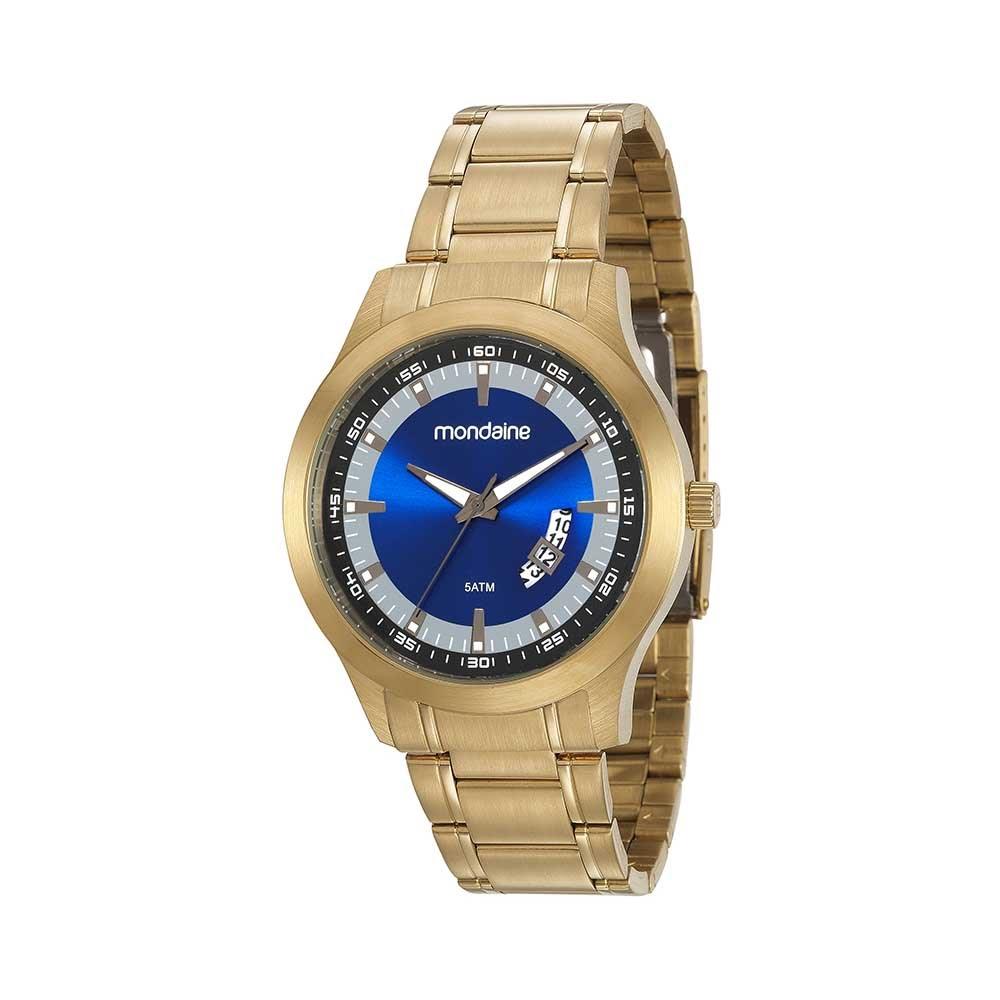 bab3f3a930d Relógio Noturno Visor Tricolor Dourado. 99183GPMVDA2. 99183GPMVDA2