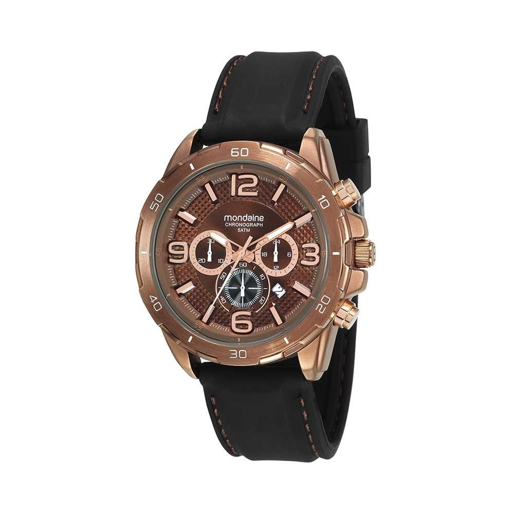 53cb3603582 Relógio Cronógrafo Pulseira em Borracha Preto - Mondaine
