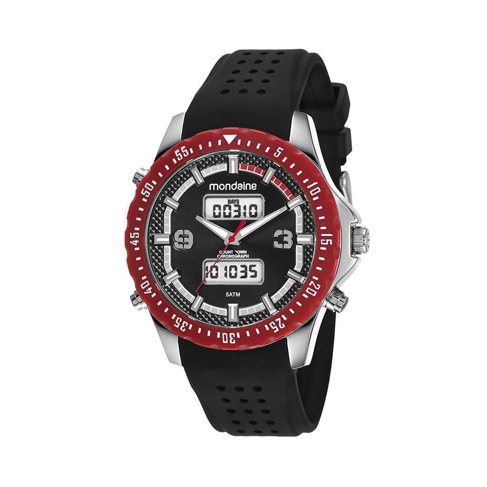 9a43f935f46 Relógio Analógico e Digital Pulseira em Borracha Preto - Mondaine