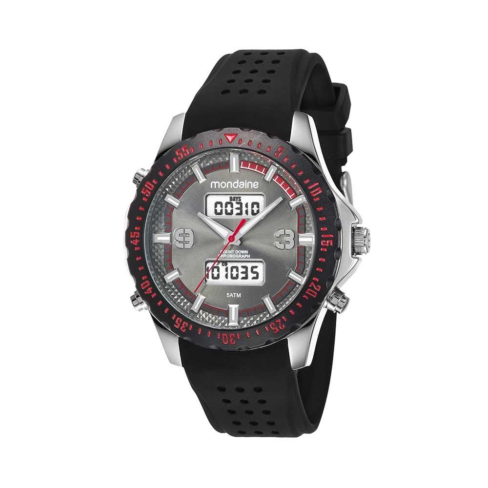 fed9cc6af87 Relógio Analógico e Digital Pulseira em Borracha Preto - Mondaine