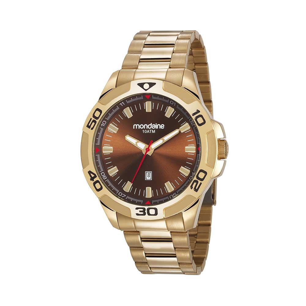65f78df7d5b Relógio Calendário Pulseira em Aço Dourado - Mondaine