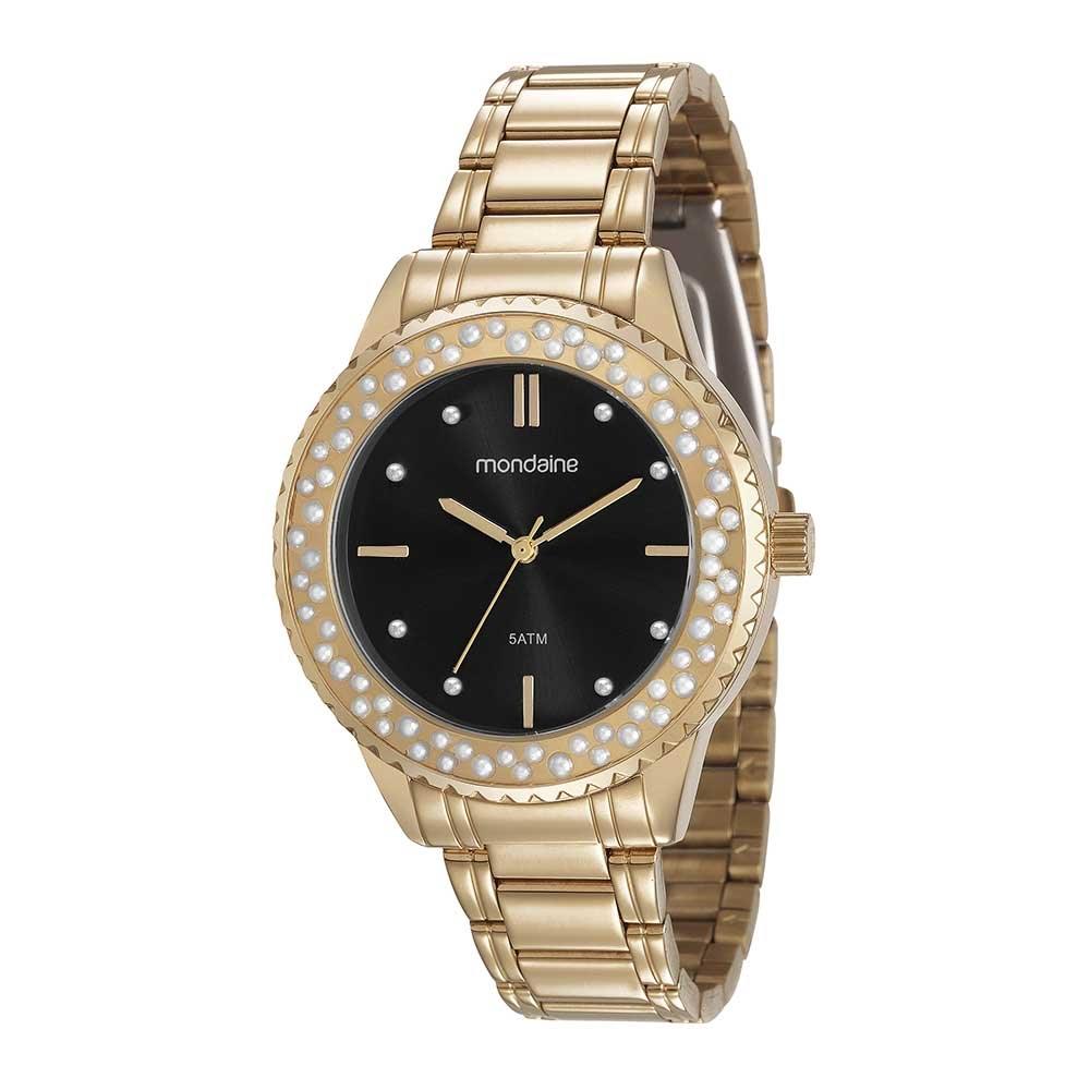 fa9e2d3bdc9 Relógio Catraca com Cristais Dourado. 99258LPMVDE2. 99258LPMVDE2