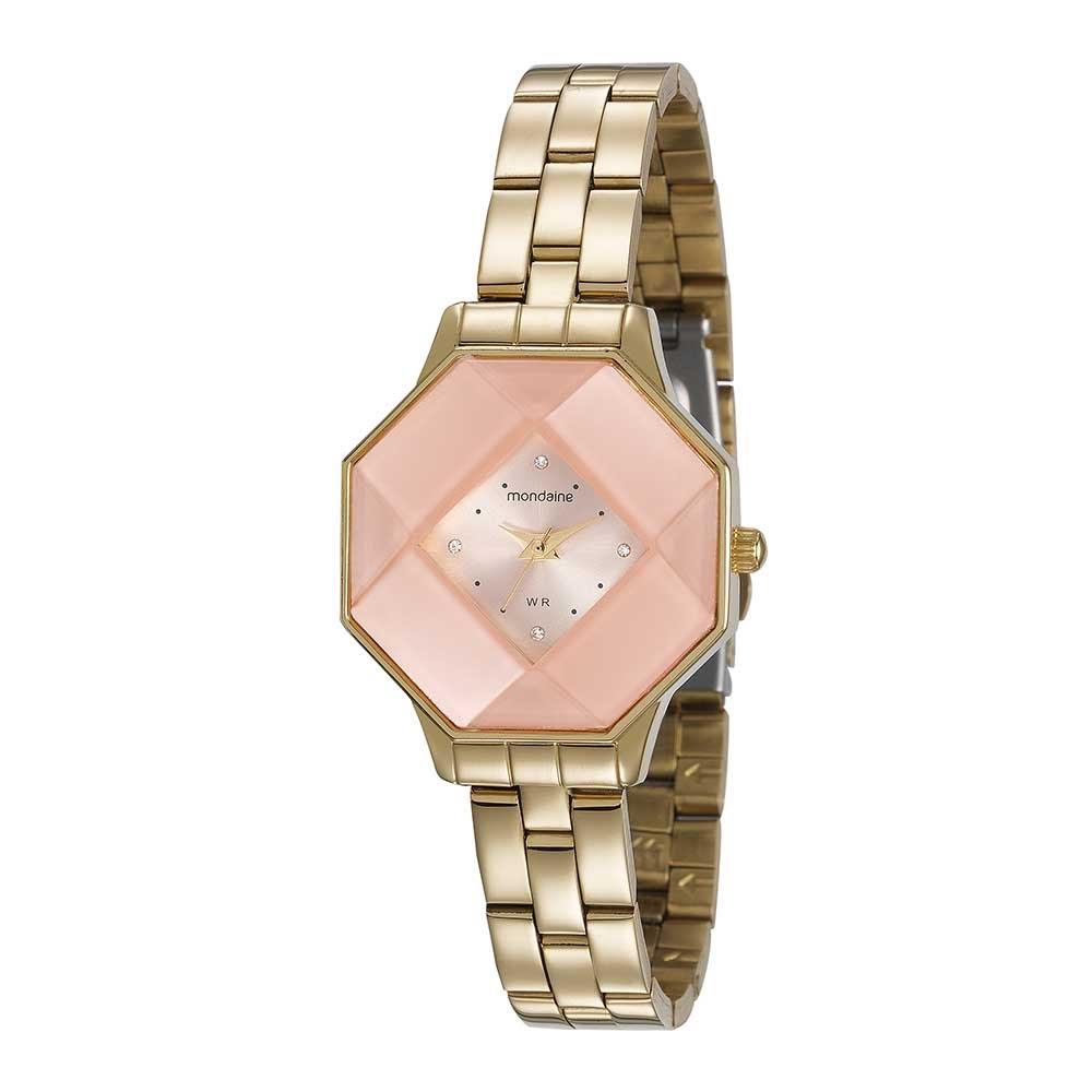 d15646be736 Relógio Visor Octagonal Facetado Dourado. 99261LPMVDE2. 99261LPMVDE2