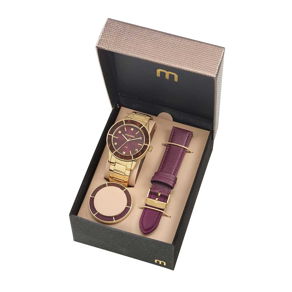 2db12f47cd5 Relógio Troca Catraca e Pulseira Dourado e Bordô - Mondaine