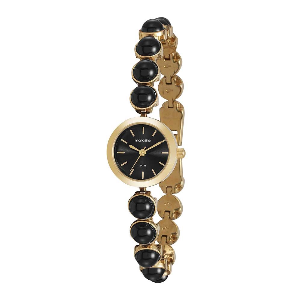 525da3af0a2 Relógio Doce Nostalgia com Pérola Preta na Pulseira Dourado - Mondaine