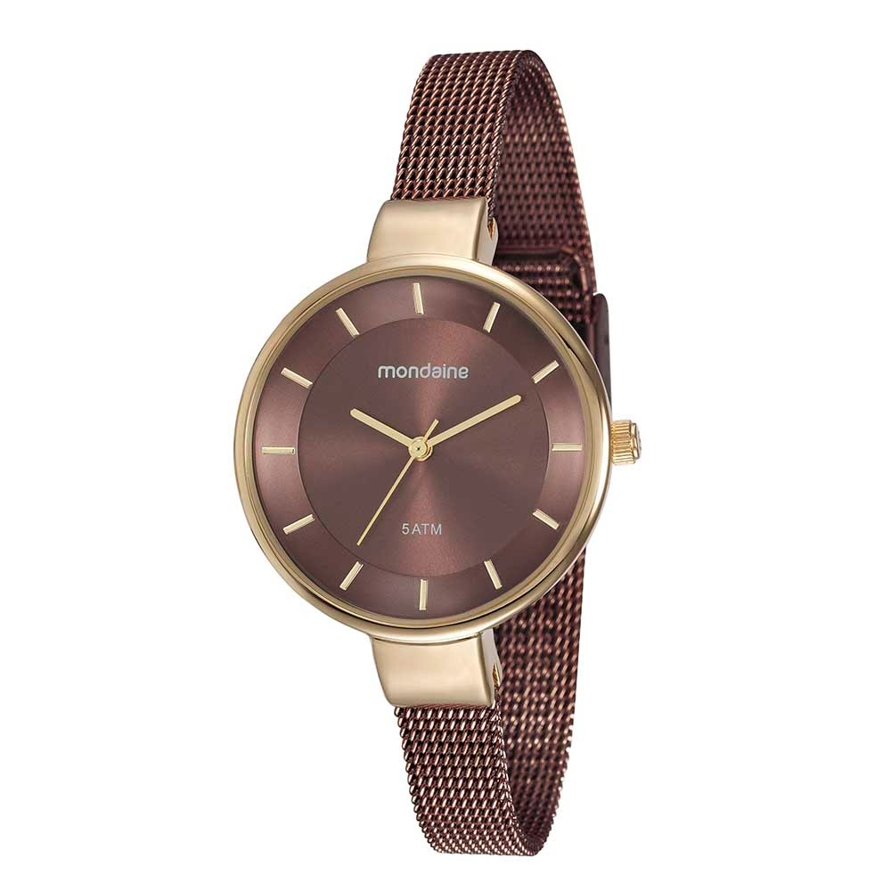 95841f231a3 Relógio Pulseira Malha de Aço Marrom - Mondaine