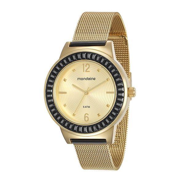 8636b447e97 Relógio Malha de Aço Dourado - Mondaine