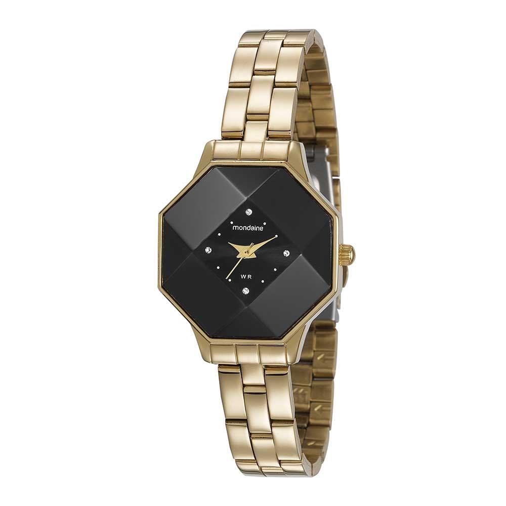ebedb4056a8 Relógio Octagonal Visor Facetado Dourado. 99261LPMVDE1. 99261LPMVDE1