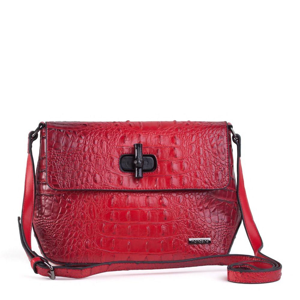 89cdd7dd0 Bolsa Pequena Tiracolo Vermelha Textura Croco - Mondaine