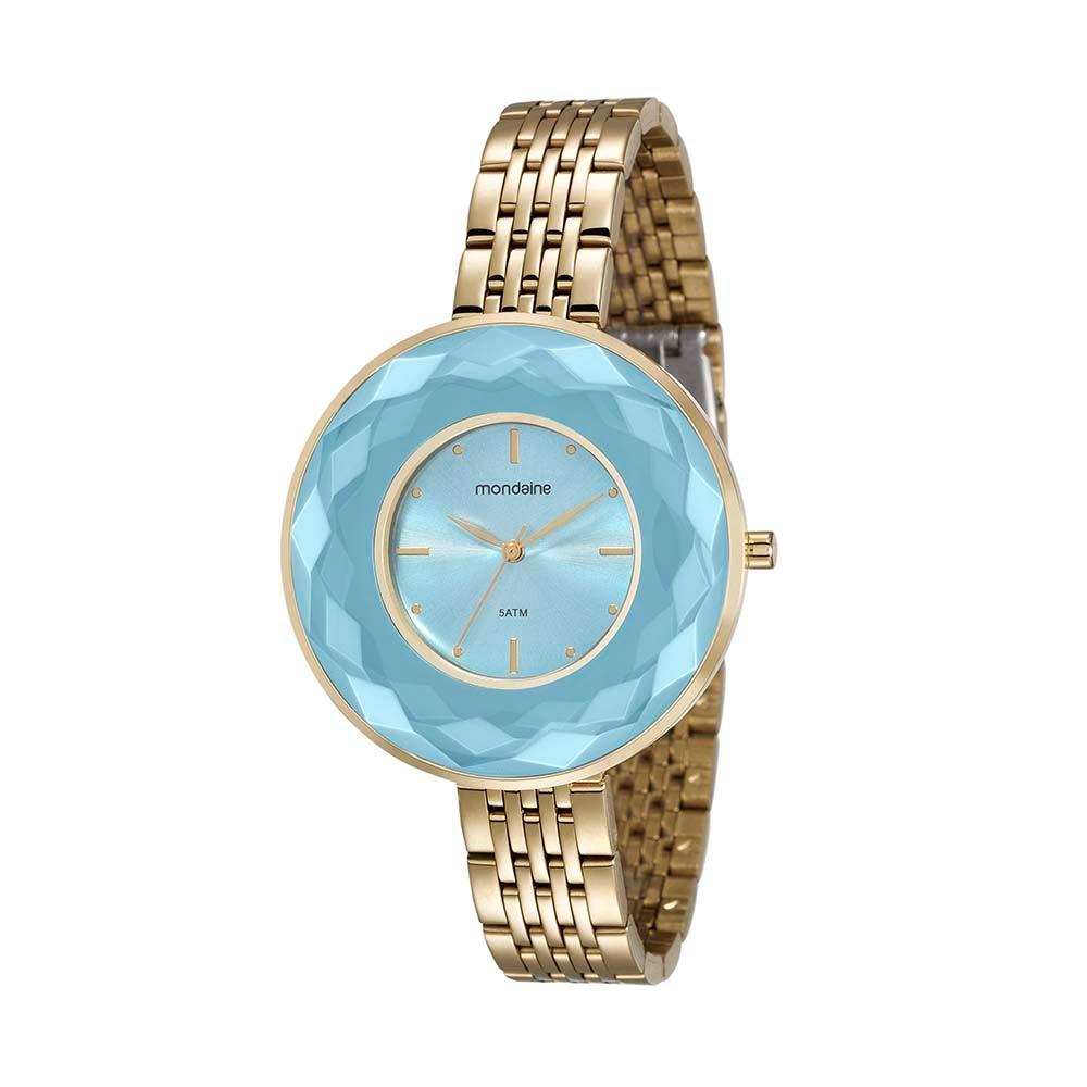8cf54bad4ab Relógio Visor Facetado Pulseira em Aço Dourado - Mondaine