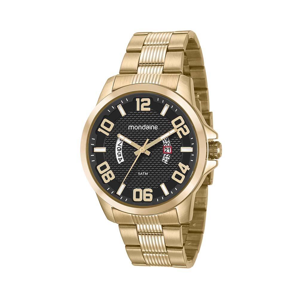 c7f649c02f0 Relógio Visor Texturizado Calendário Dourado. 99285GPMVDS1. 99285GPMVDS1