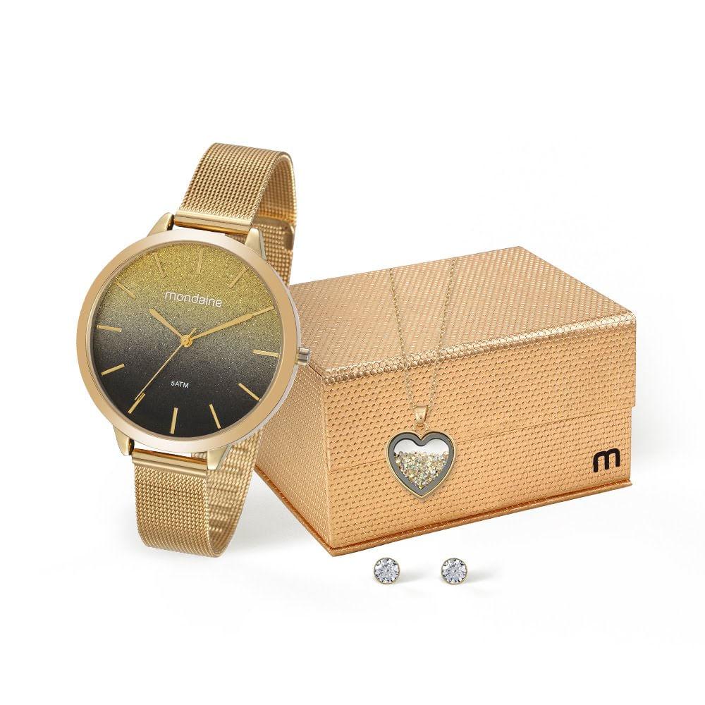 7cce1c59785 Kit Relógio com Semi Joias Dourado - Mondaine