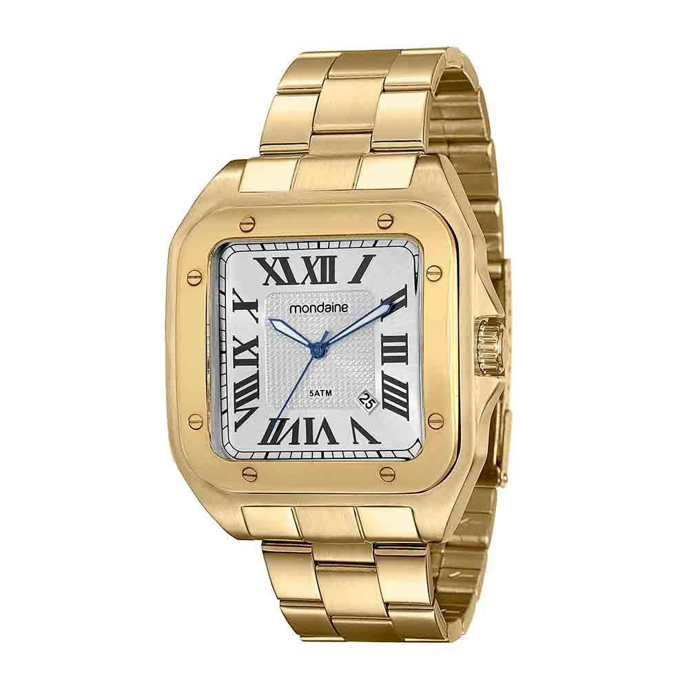 3a8d7566003 Relógio Quadrado Pulseira em Aço Calendário Dourado - Mondaine