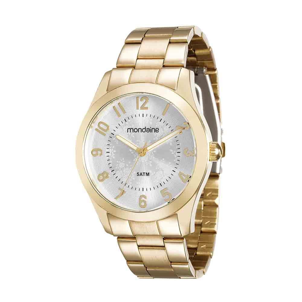 ace6cca75be Relógio Visor Texturizado Pulseira em Aço Dourado - Mondaine