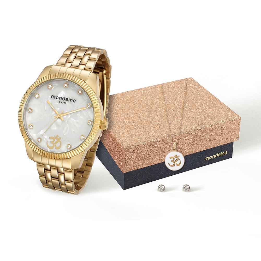 c48059dc033 Kit Relógio e Conjunto Semijóias Dourado - Mondaine