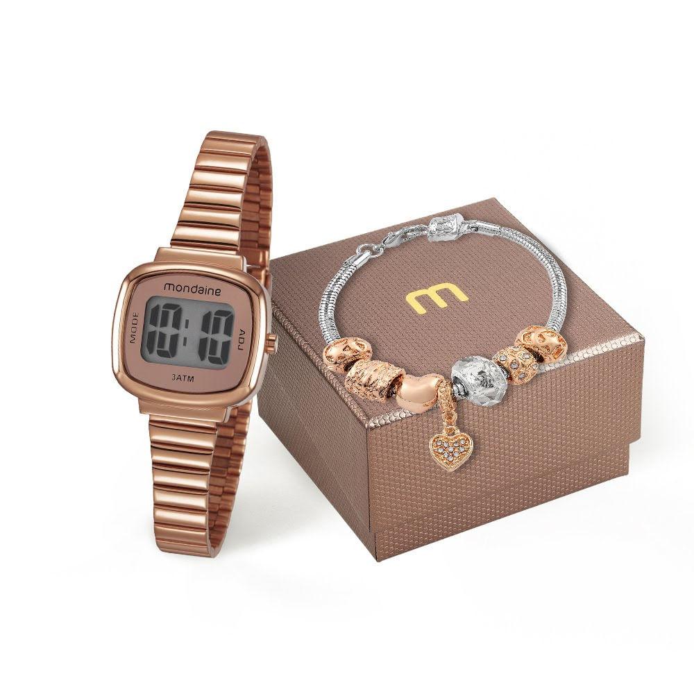 83965cf369a Kit Relógio Vintage com Pulseira Berloques Rosé - Mondaine