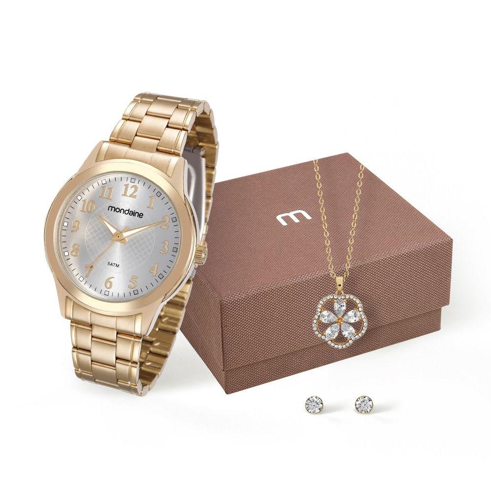 ff6f23f81 Kit Relógio e Conjunto de Semijóias Dourado - Mondaine