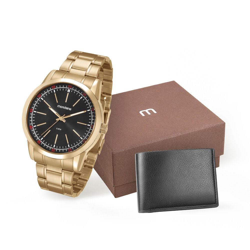 63a2bc2c0c4 Kit Relógio com Carteira Dourado - Mondaine
