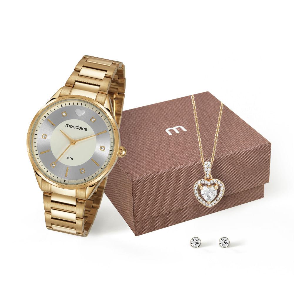 f4ec23a0051 Kit Relógio e Conjunto de Semijóias Dourado - Mondaine