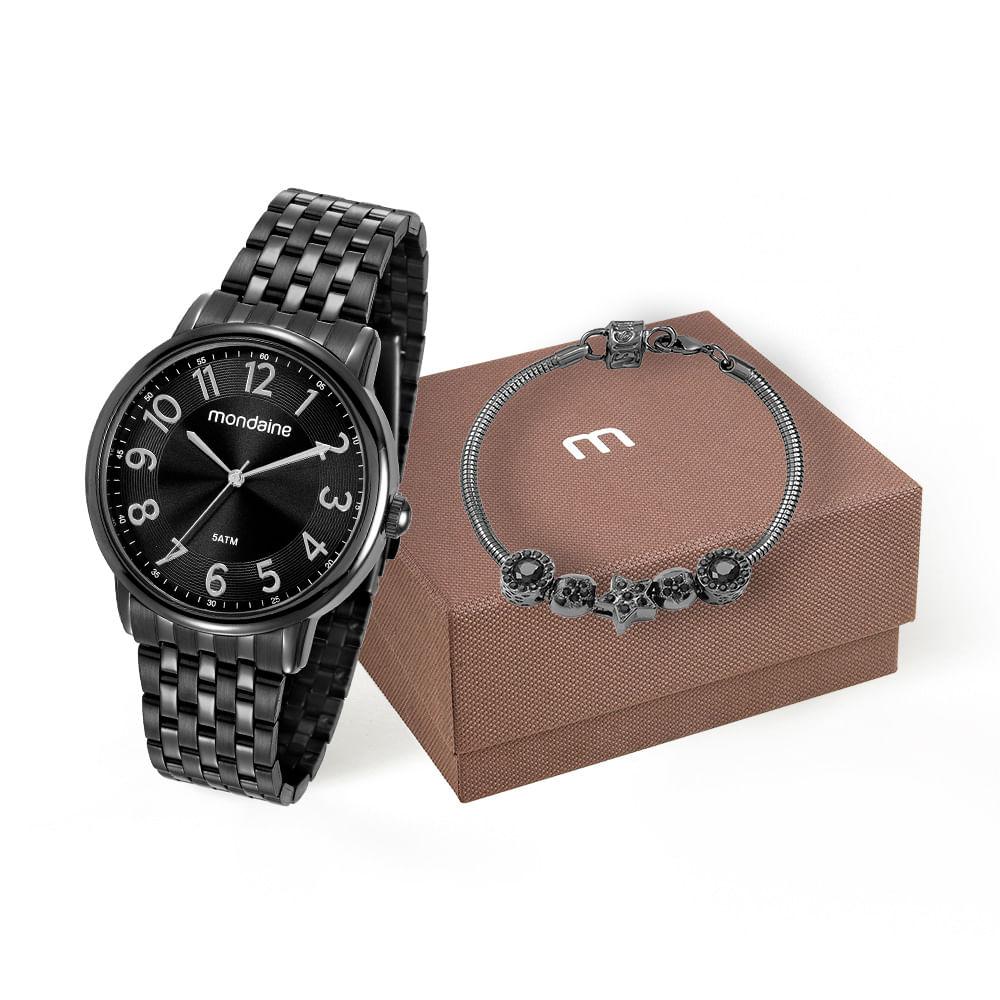 e5a38d6f16b Kit Relógio e Pulseira com Berloques Preto - Mondaine