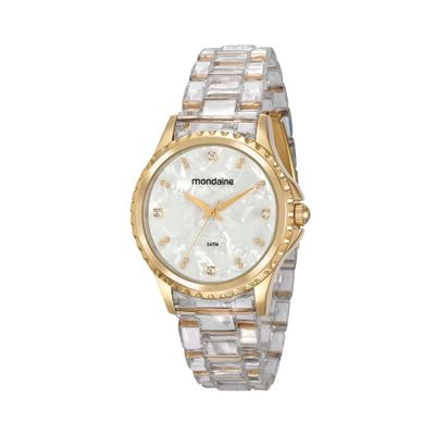 258e861547c Relógio Madrepérola com Cristais Branco