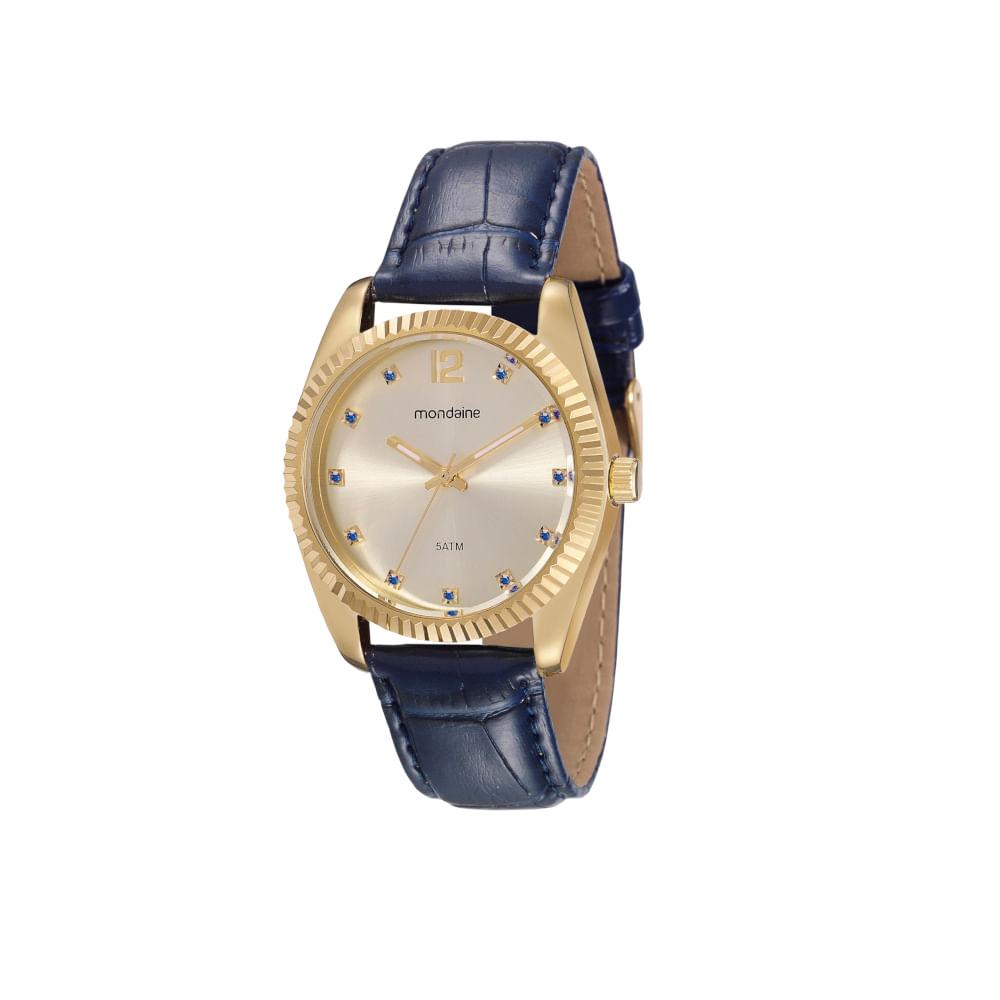 Relógio Cristais Pulseira Croco Azul