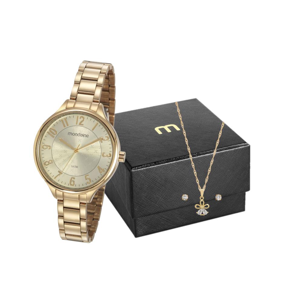 Kit Relógio Casual com Semi Joias Dourado