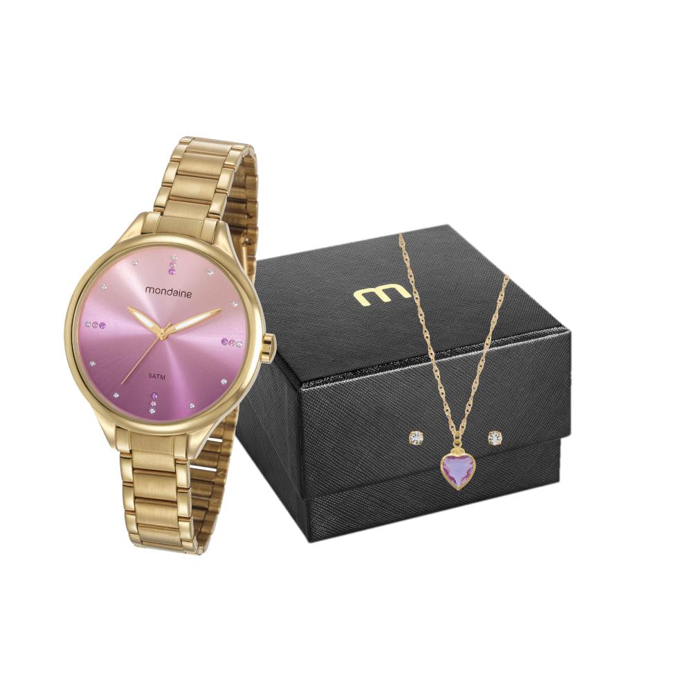 Kit Relógio Degradê com Semi Joias Dourado