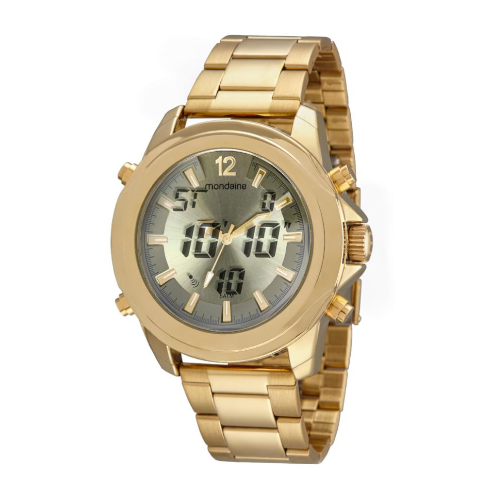 Relógio Anadigi Robusto Dourado