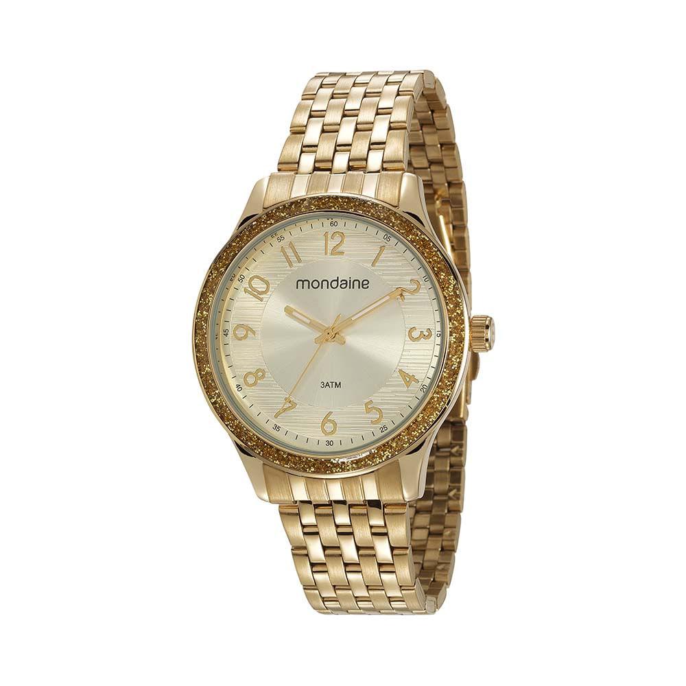 Relógio Glitter Dourado