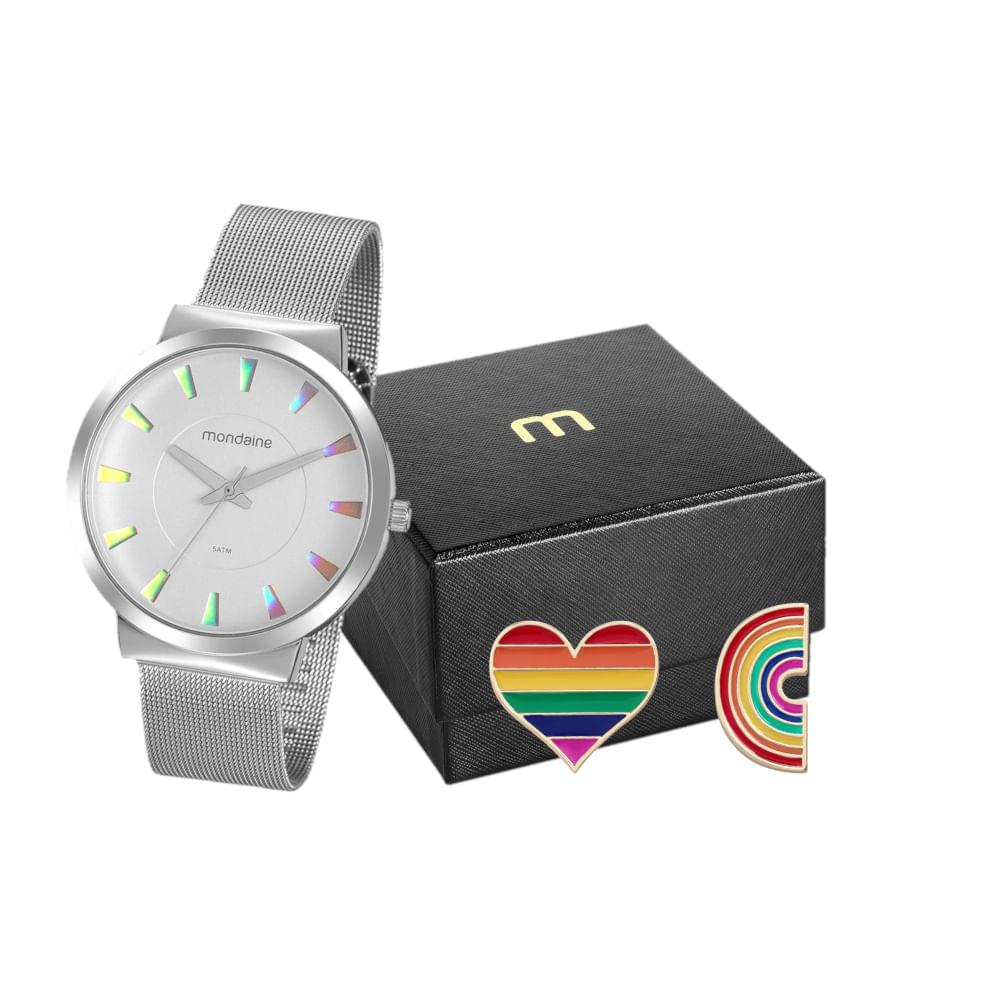 Kit Relógio Prata Com Broche Pride Coração e Arco íris