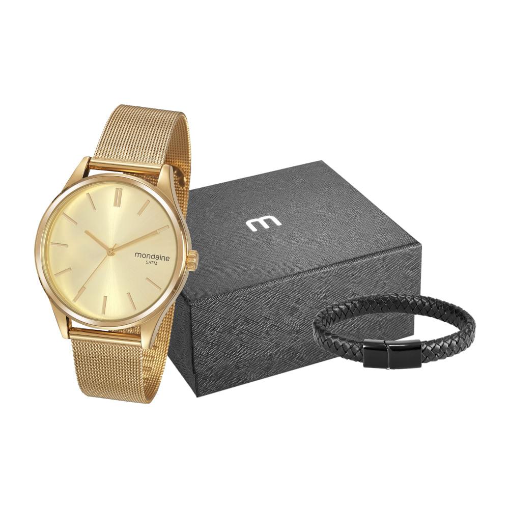Kit Relógio Malha de Aço Dourado com Pulseira