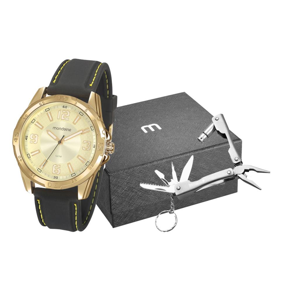 Kit Relógio Silicone Preto com Chaveiro Multiuso