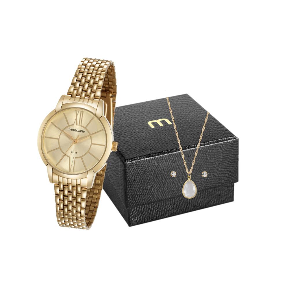 Kit Relógio Casual Dourado com Semi Joias