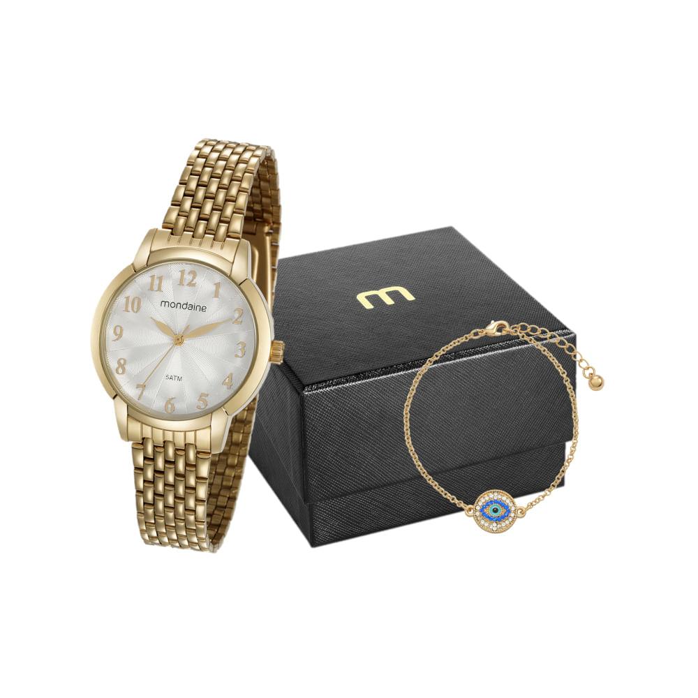 Kit Relógio Dourado com Pulseira Olho Grego