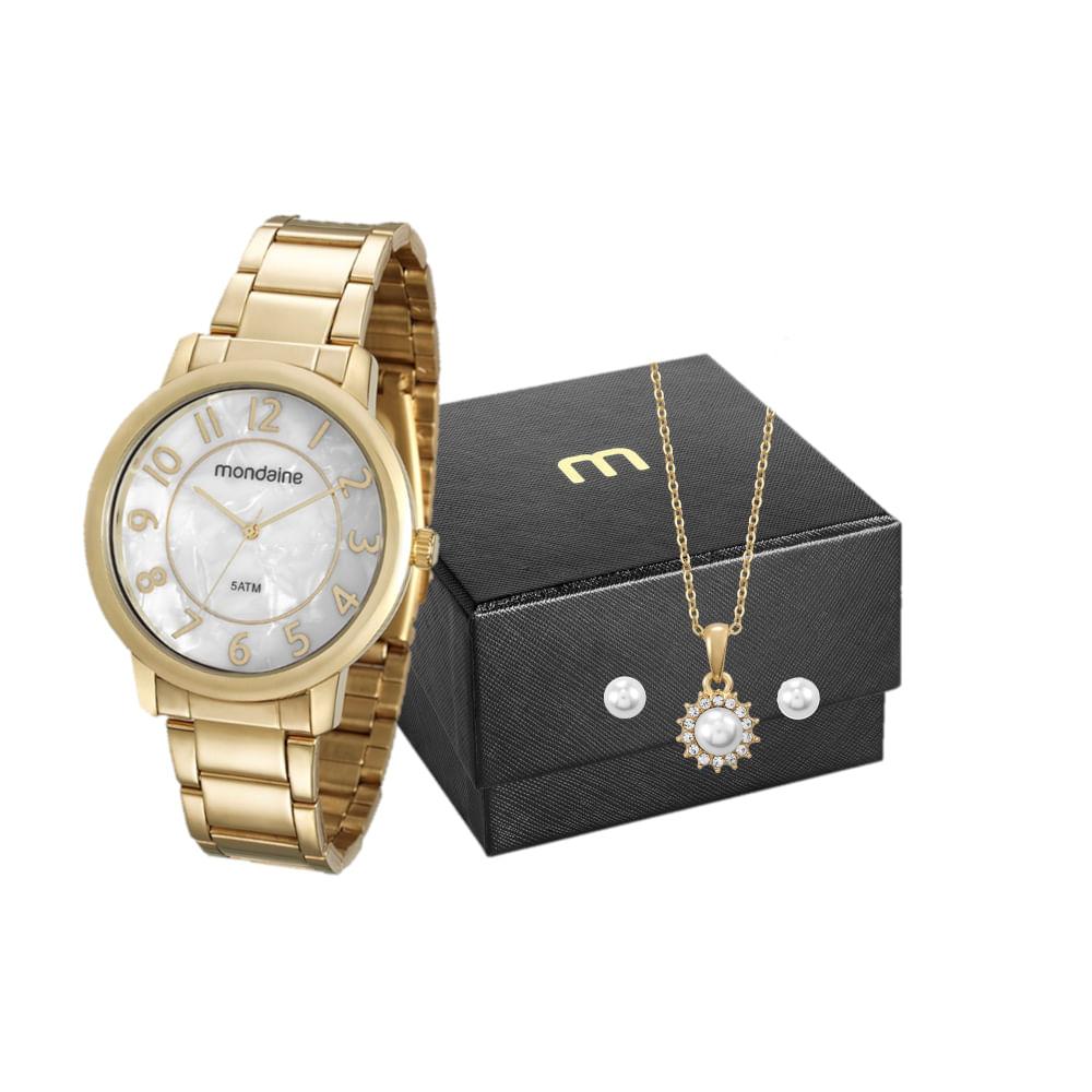 Kit Relógio Madrepérola Dourado com Semi Joias